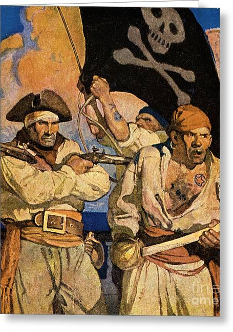 Crossbones Greeting Cards - Wyeth: Treasure Island Greeting Card by Granger