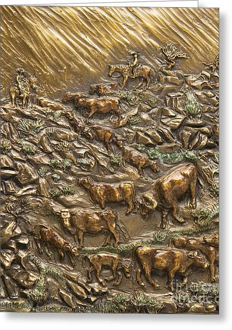 Rocky Mountain Reliefs Greeting Cards - Wyoming Cattle Drive Greeting Card by Dawn Senior-Trask