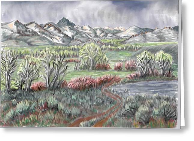 Willow Lake Greeting Cards - Wyoming Spring Greeting Card by Dawn Senior-Trask