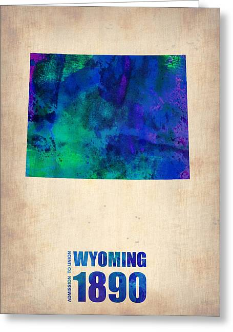 Wyoming Greeting Cards - Wyoming Watercolor Map Greeting Card by Naxart Studio