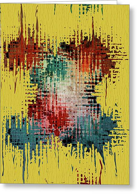 Yellow Abstract Art Greeting Cards - X Marks the Spot Greeting Card by Bonnie Bruno