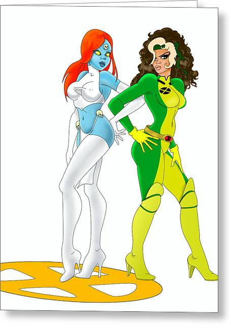Desing Digital Art Greeting Cards - X Men Rogue And Mystique Greeting Card by Lynn Rider