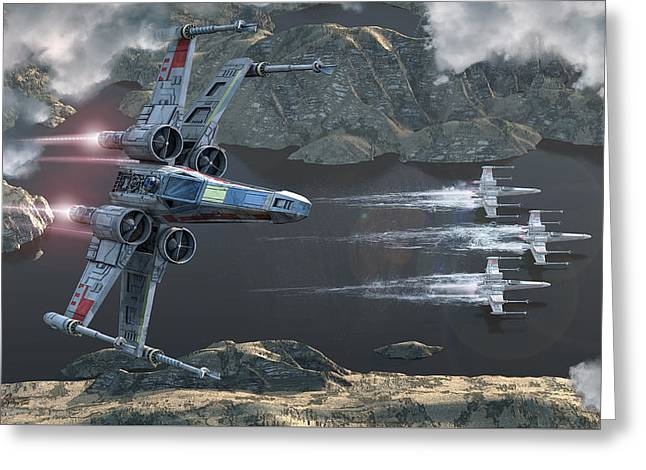 Jet Star Greeting Cards - X-Wing Along The River Greeting Card by Kurt Miller