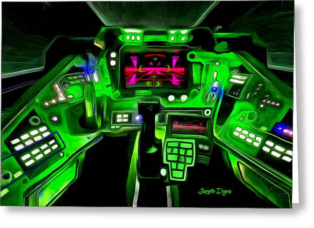 X-wing Cockpit - Pa Greeting Card by Leonardo Digenio