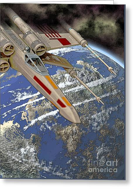 Starfighter Greeting Cards - X-Wing Starfighter Greeting Card by Colin Hunt
