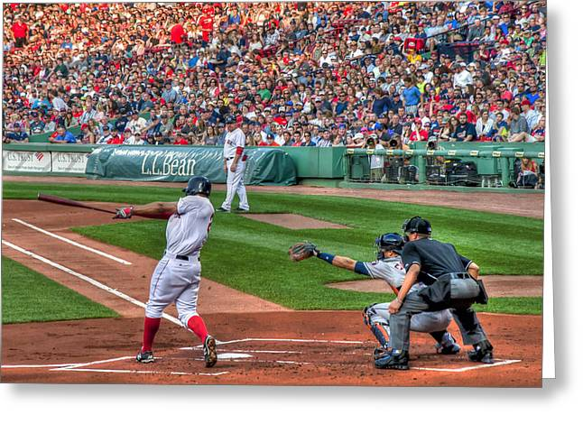 Fenway Park Greeting Cards - Xander Bogaerts - Boston Red Sox Greeting Card by Joann Vitali