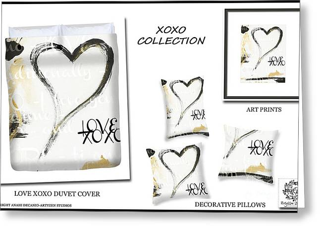 Couer Greeting Cards - XO LOVE Heart in Gold Black and White Greeting Card by ArtyZen Studios