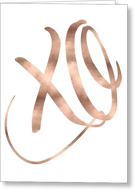 Xo, Rose Gold Greeting Card by Donna Gilbert