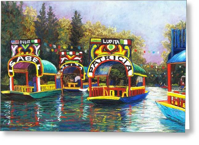Boat Pastels Greeting Cards - Xochimilco Greeting Card by Candy Mayer