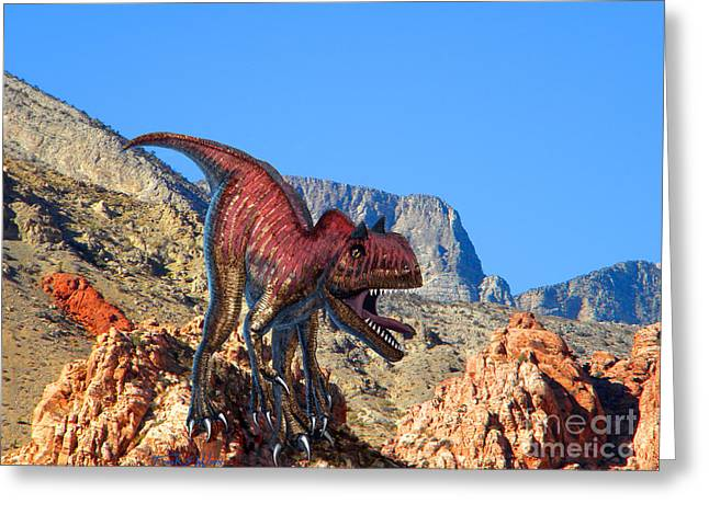 Dinosaurs Greeting Cards - Xuanhanosarus In The Desert Greeting Card by Frank Wilson