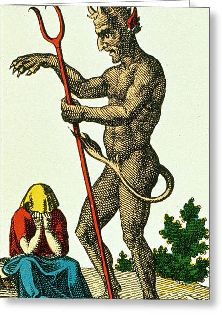 Crying Drawings Greeting Cards - XV The Devil   Tarot card Greeting Card by French School