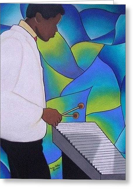 African-american Greeting Cards - Xylo Man Greeting Card by Sonya Walker