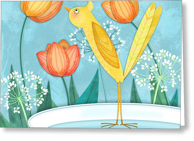 Illustrated Letter Greeting Cards - Y is for Yellow Bird Greeting Card by Valerie   Drake Lesiak
