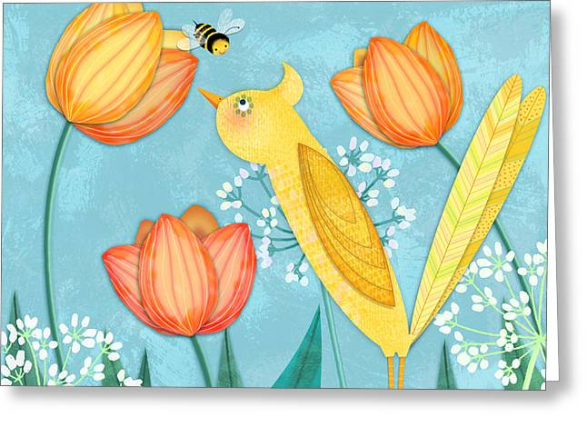 Spring Scenes Mixed Media Greeting Cards - Y is for Yellow Bird Greeting Card by Valerie   Drake Lesiak