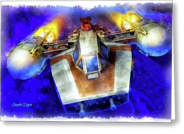 Y-wing Fighter - Aquarell Style Greeting Card by Leonardo Digenio