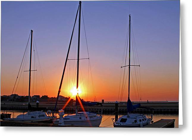 Docked Sailboat Greeting Cards - Yacht Club Sunrise Greeting Card by Judy Vincent