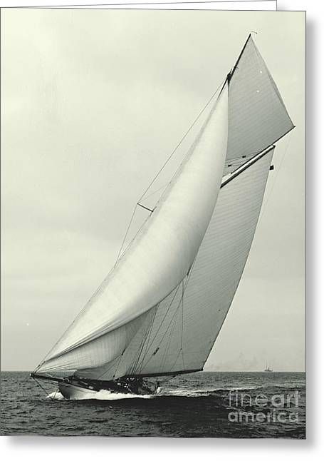 Recently Sold -  - Schooner Greeting Cards - Yacht Columbia 1901 Greeting Card by Padre Art
