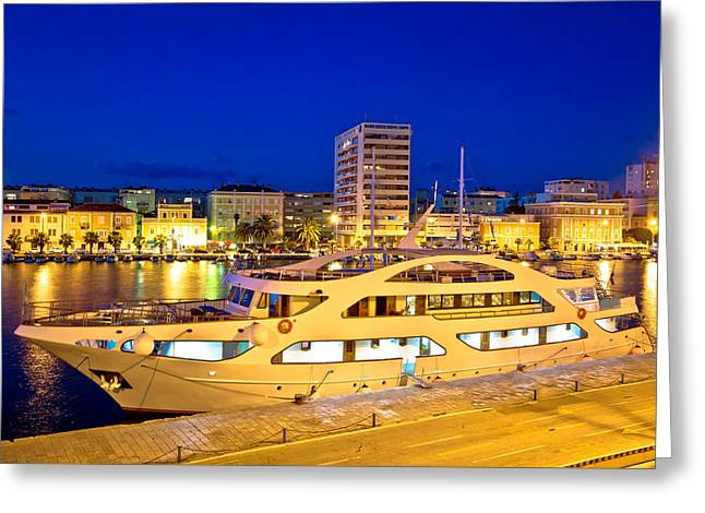 Docked Sailboats Greeting Cards - Yacht in Zadar harbor evening view Greeting Card by Dalibor Brlek