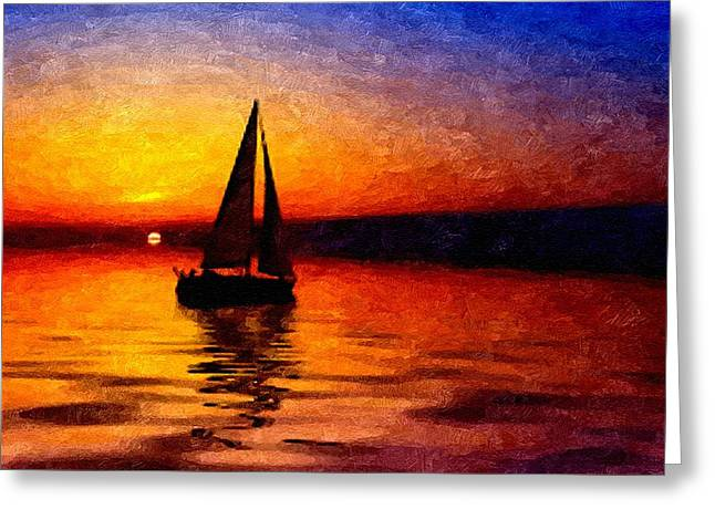 Abstract Digital Greeting Cards - Yacht On a Calm Sea at Sunset H B Greeting Card by Gert J Rheeders