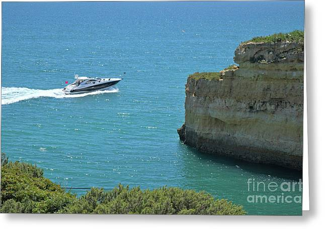 Yacht Passing By The Cliffs In Lagoa Greeting Card by Angelo DeVal