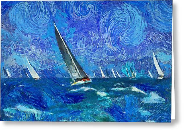 Watercolour Interior Greeting Cards - Yacht Regatta Leader Greeting Card by Yury Malkov