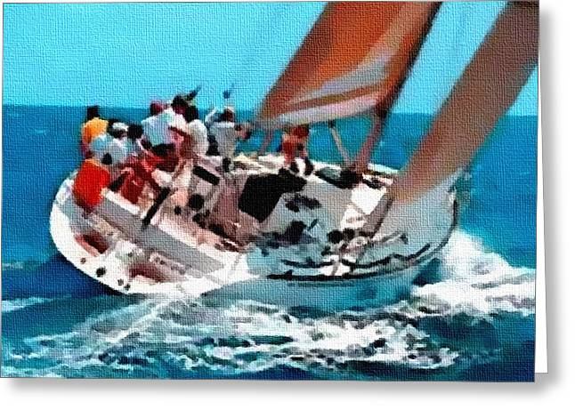 Abstract Digital Pastels Greeting Cards - Yacht Trip On A Saturday H B Greeting Card by Gert J Rheeders