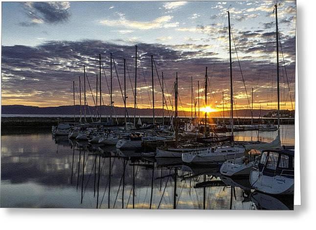 Abstract Digital Pastels Greeting Cards - Yachts at Sunset H b Greeting Card by Gert J Rheeders
