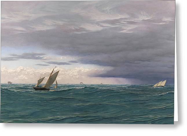 Yachts In A Seaway, Mediterranean, 1871 Greeting Card by John Brett