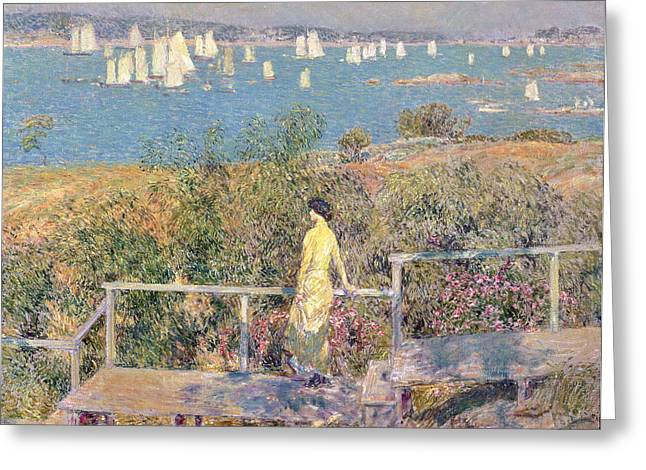 Yachts in Gloucester Harbor Greeting Card by Childe Hassam