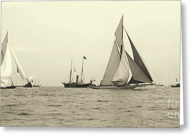 Yachts Valkyrie II And Vigilant Start Americas Cup Race 1893 Greeting Card by Padre Art