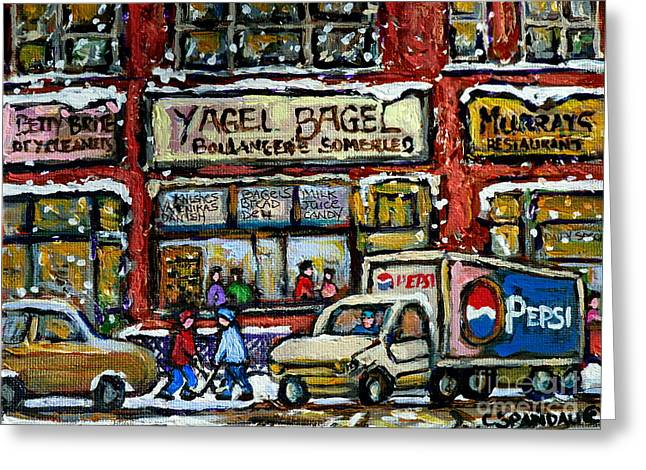 Hockey Paintings Greeting Cards - Yagel Bagel And Murrays Resto Montreal Winter Street Paintings Two Boys Playing Hockey Snowy Day Greeting Card by Carole Spandau