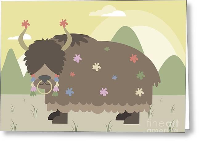 Yak Greeting Cards - Yak in mountains Greeting Card by Pablo Romero