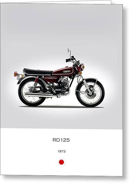 Yamaha Greeting Cards - Yamaha RD125 1973 Greeting Card by Mark Rogan