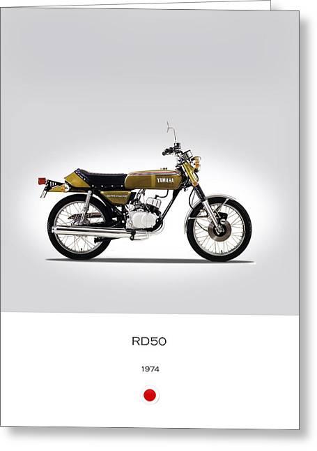 Yamaha Greeting Cards - Yamaha RD50 1974 Greeting Card by Mark Rogan