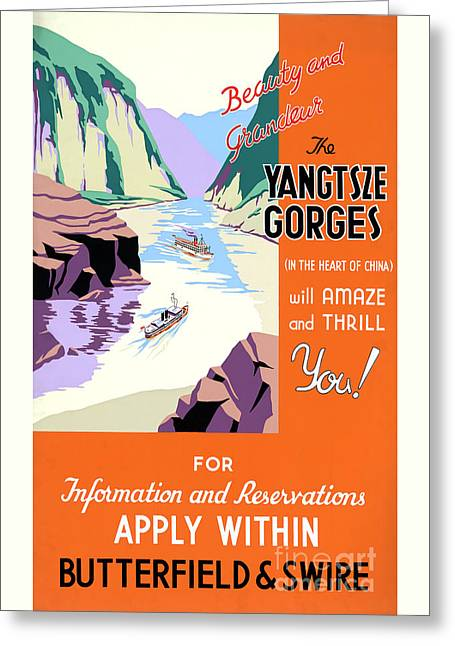 Historical Images Greeting Cards - Yangtsze Yangtze Gorges China Vintage Travel Poster Greeting Card by Carsten Reisinger