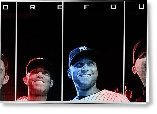 Four Greeting Cards - Yankee Core Four by GBS Greeting Card by Anibal Diaz