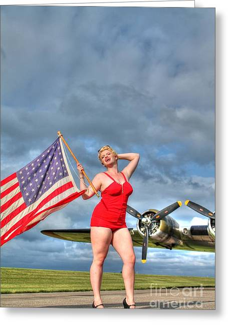 Sexy Women Framed Prints Greeting Cards - Yankee Girl 2 Greeting Card by Jimmy Ostgard