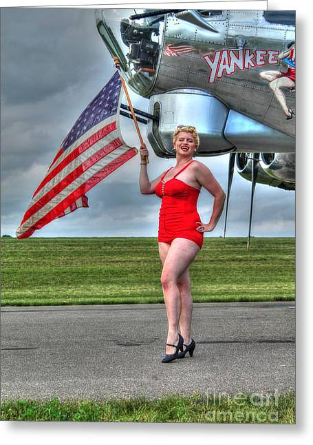 Pin-up Model Greeting Cards - Yankee Girl Greeting Card by Jimmy Ostgard