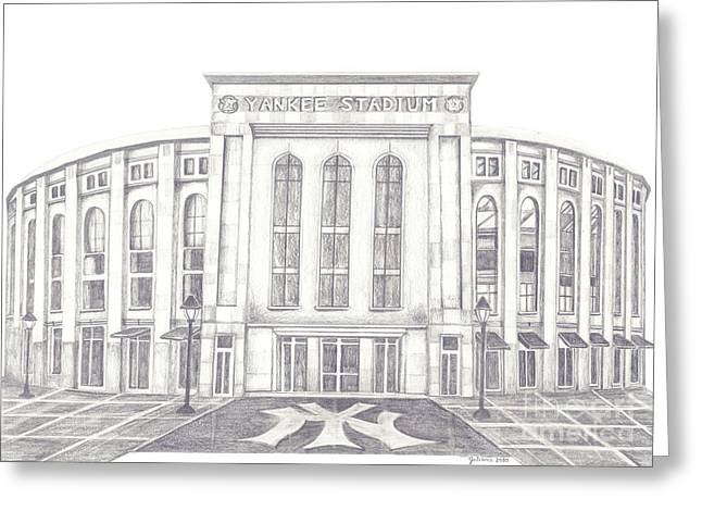 New York Stadiums Drawings Greeting Cards - Yankee Stadium Greeting Card by Juliana Dube