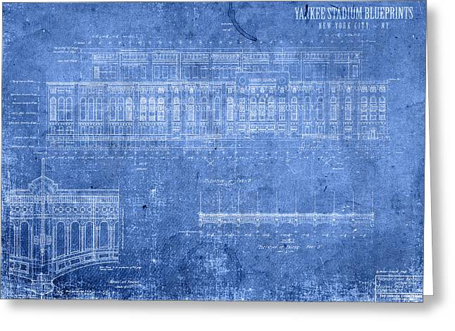 Yankee Stadium New York City Blueprints Greeting Card by Design Turnpike