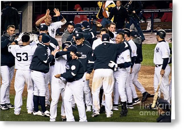Arod Greeting Cards - Yankees Celebrate Greeting Card by Andrew Kazmierski