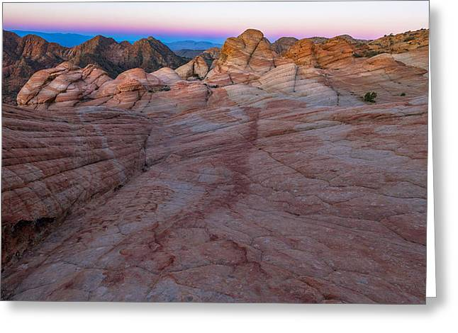 Slickrock Greeting Cards - Yant Flats II Candy Cliffs First Light 3 Greeting Card by Greig Huggins