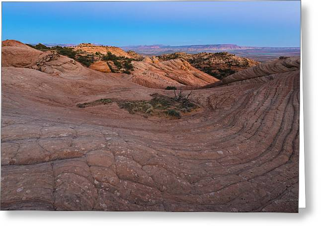 Slickrock Greeting Cards - Yant Flats II Last Light 1 Greeting Card by Greig Huggins