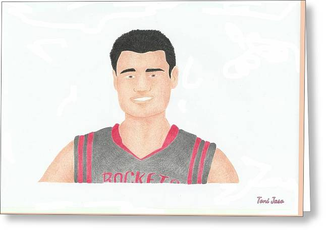 Slam Drawings Greeting Cards - Yao Ming Greeting Card by Toni Jaso