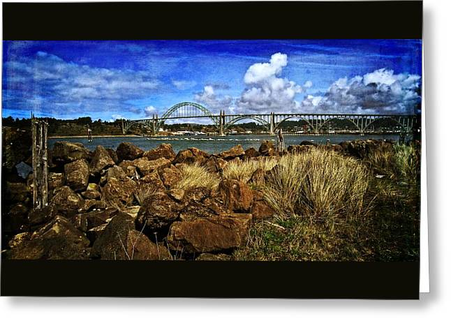 Oregon Coast Greeting Cards - Yaquina Bay Bridge From The South Jetty Greeting Card by Thom Zehrfeld
