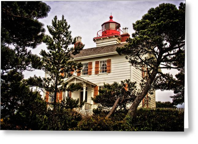 Yaquina Bay Lighthouse Greeting Cards - Yaquina Bay Lighthouse Two Greeting Card by Thom Zehrfeld