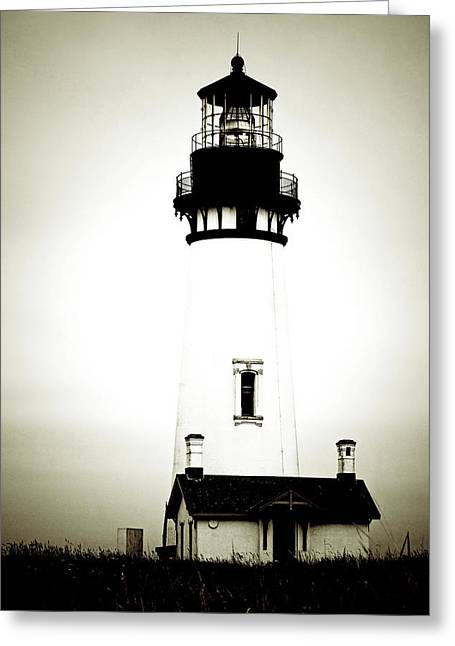 Foggy Ocean Greeting Cards - Yaquina Head Light - Haunted Oregon Lighthouse Greeting Card by Christine Till