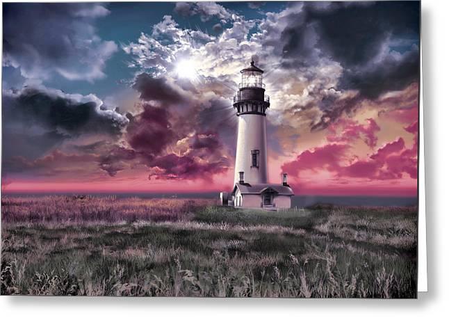 Yaquina Head Lighthouse Greeting Cards - Yaquina Head Lighthouse 2 Greeting Card by MB Art factory