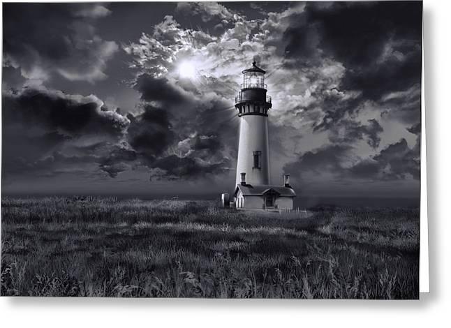 Oregon Lighthouse Image Greeting Cards - Yaquina Head Lighthouse 3 Greeting Card by MB Art factory