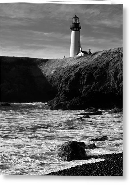 Yaquina Head Lighthouse Greeting Card by Lara Ellis